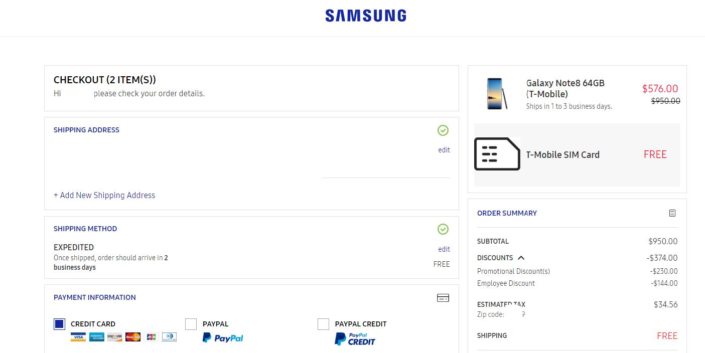 Deal Alert] Samsung Note 8 ( T-Mobile ) for $576 00 on Samsung com