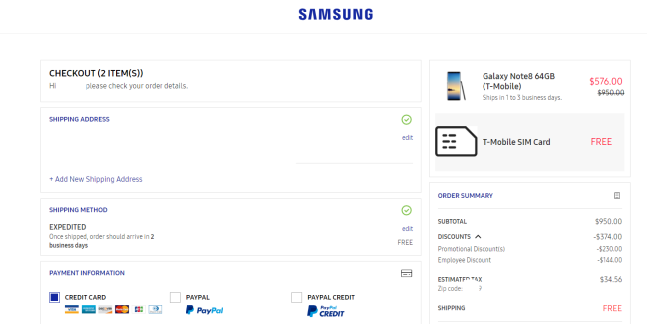 Deal Alert] Samsung Note 8 ( T-Mobile ) for $576 00 on